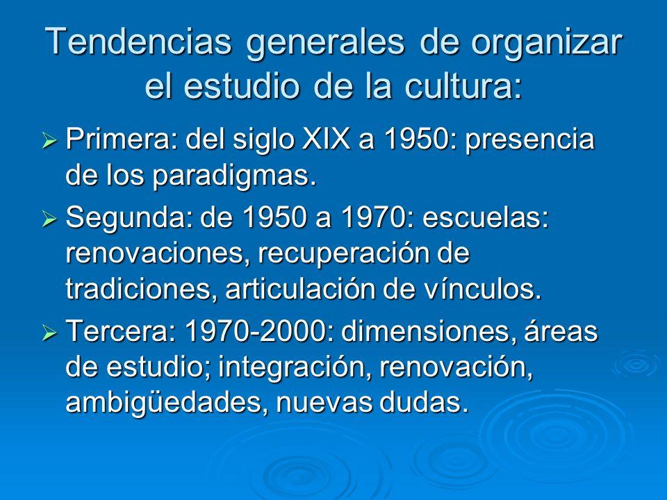 Tendencias generales de organizar el estudio de la cultura: