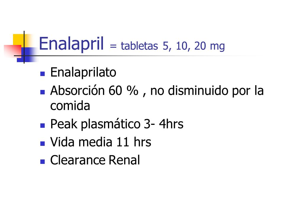 Enalapril = tabletas 5, 10, 20 mg