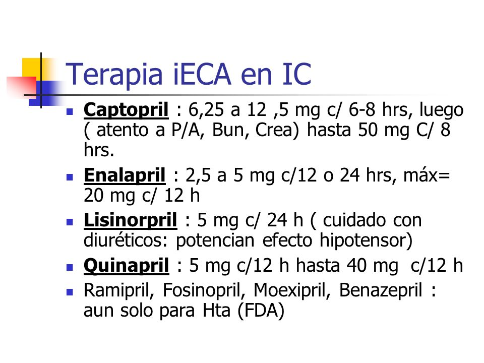 Terapia iECA en IC Captopril : 6,25 a 12 ,5 mg c/ 6-8 hrs, luego ( atento a P/A, Bun, Crea) hasta 50 mg C/ 8 hrs.