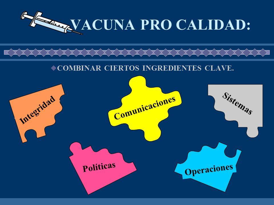 VACUNA PRO CALIDAD: Sistemas Comunicaciones Integridad Políticas