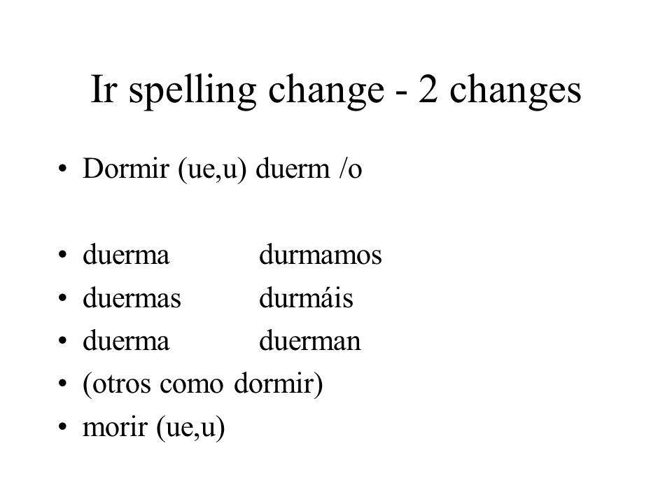 Ir spelling change - 2 changes