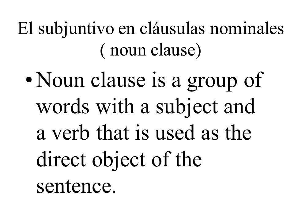 El subjuntivo en cláusulas nominales ( noun clause)