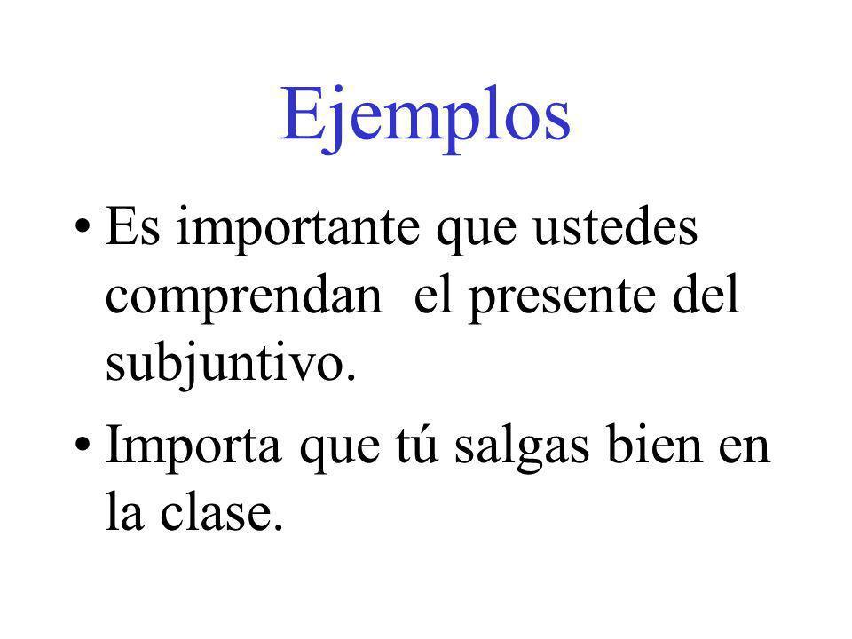 Ejemplos Es importante que ustedes comprendan el presente del subjuntivo.