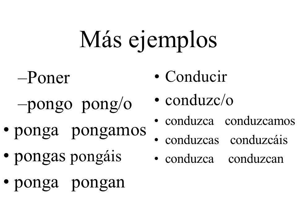 Más ejemplos Poner pongo pong/o ponga pongamos pongas pongáis