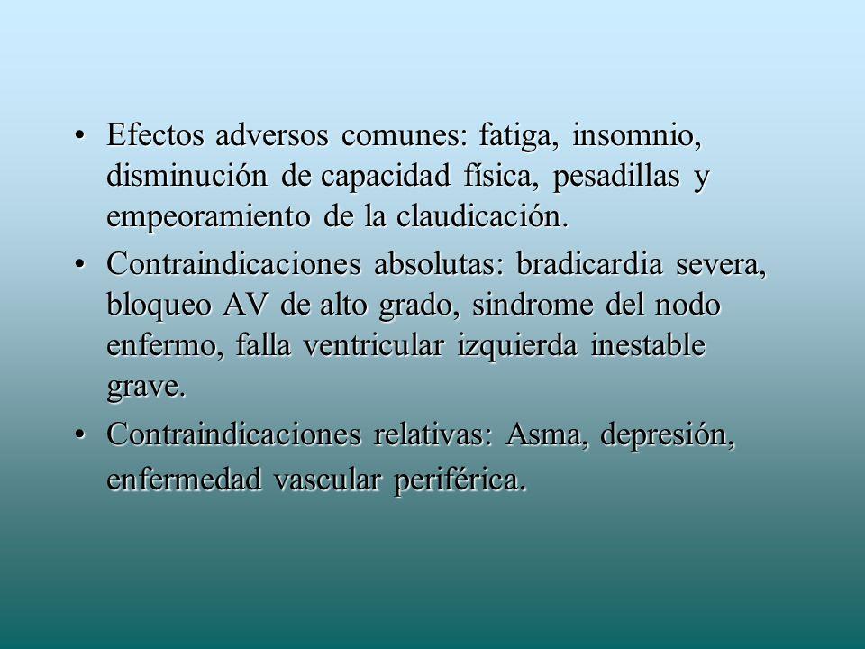 Efectos adversos comunes: fatiga, insomnio, disminución de capacidad física, pesadillas y empeoramiento de la claudicación.