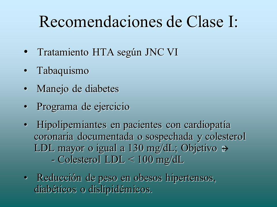 Recomendaciones de Clase I: