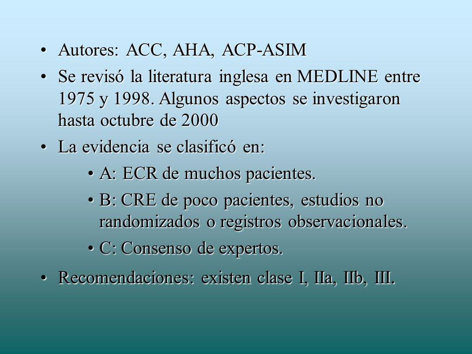 Autores: ACC, AHA, ACP-ASIM