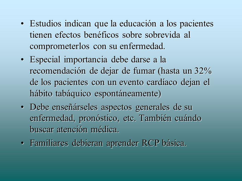 Estudios indican que la educación a los pacientes tienen efectos benéficos sobre sobrevida al comprometerlos con su enfermedad.