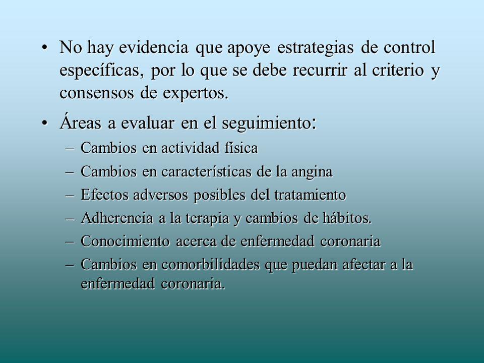 Áreas a evaluar en el seguimiento: