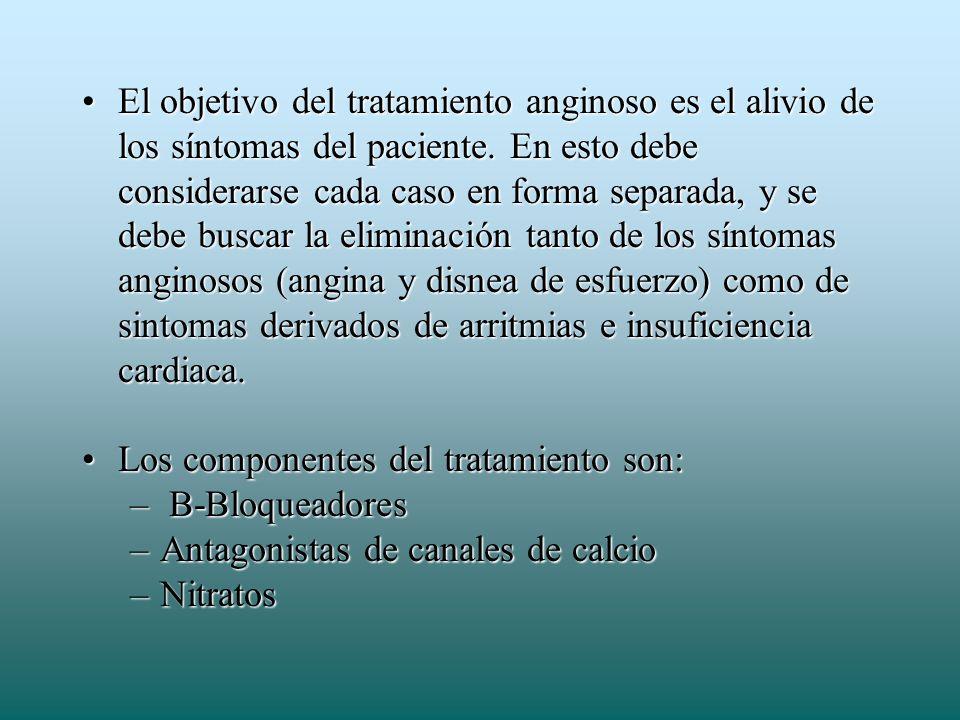 El objetivo del tratamiento anginoso es el alivio de los síntomas del paciente. En esto debe considerarse cada caso en forma separada, y se debe buscar la eliminación tanto de los síntomas anginosos (angina y disnea de esfuerzo) como de sintomas derivados de arritmias e insuficiencia cardiaca.