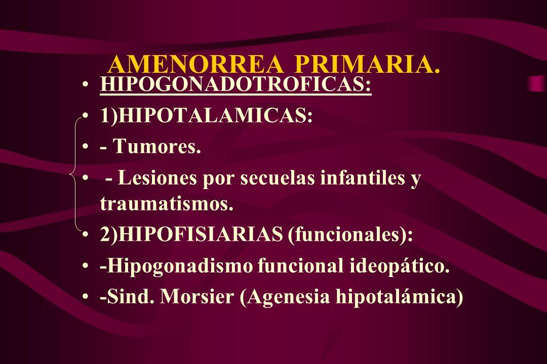 AMENORREA PRIMARIA. HIPOGONADOTROFICAS: 1)HIPOTALAMICAS: - Tumores.