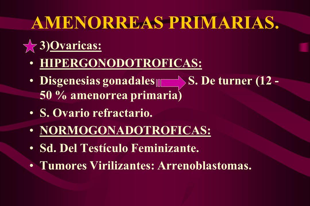 AMENORREAS PRIMARIAS. 3)Ovaricas: HIPERGONODOTROFICAS: