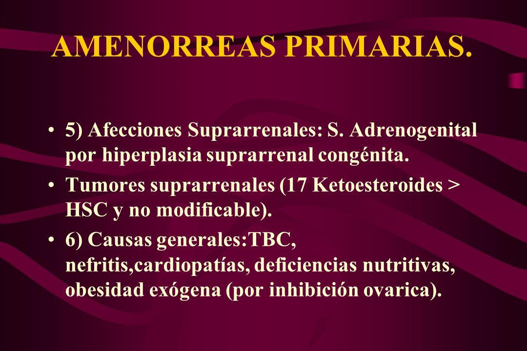 AMENORREAS PRIMARIAS. 5) Afecciones Suprarrenales: S. Adrenogenital por hiperplasia suprarrenal congénita.
