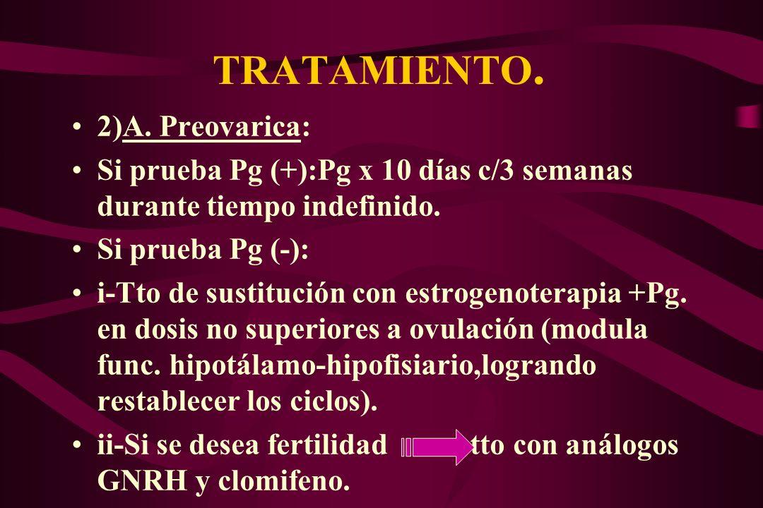 TRATAMIENTO. 2)A. Preovarica: