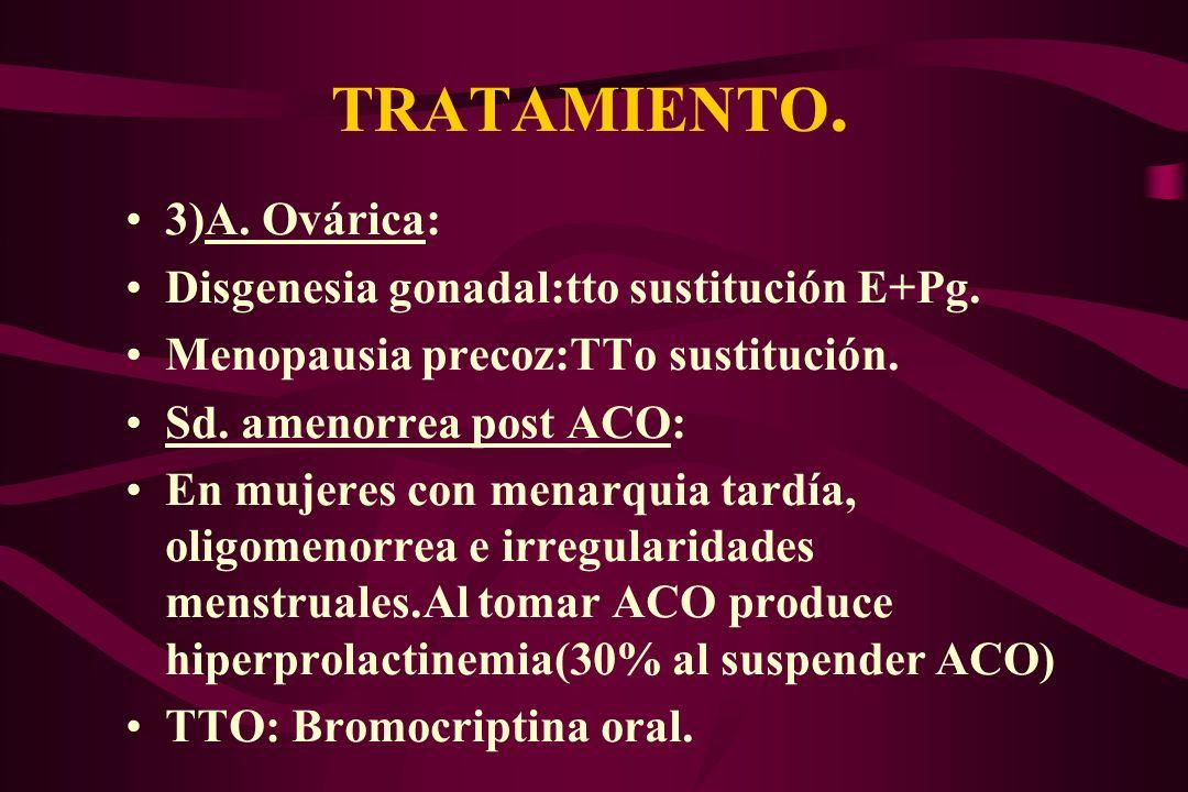 TRATAMIENTO. 3)A. Ovárica: Disgenesia gonadal:tto sustitución E+Pg.