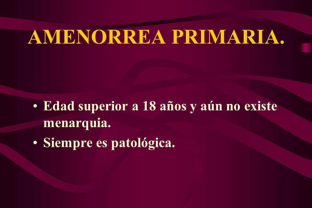 AMENORREA PRIMARIA. Edad superior a 18 años y aún no existe menarquia.