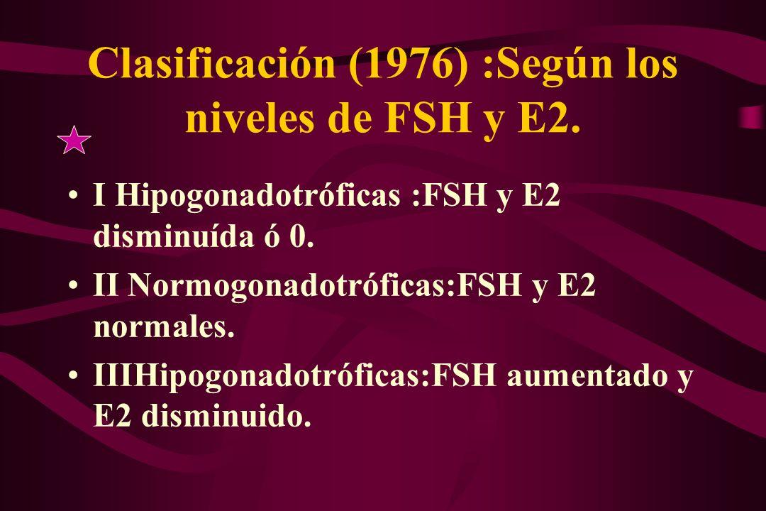 Clasificación (1976) :Según los niveles de FSH y E2.