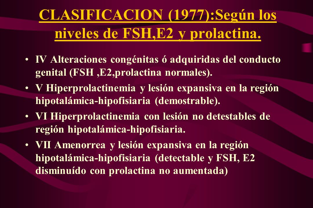 CLASIFICACION (1977):Según los niveles de FSH,E2 y prolactina.