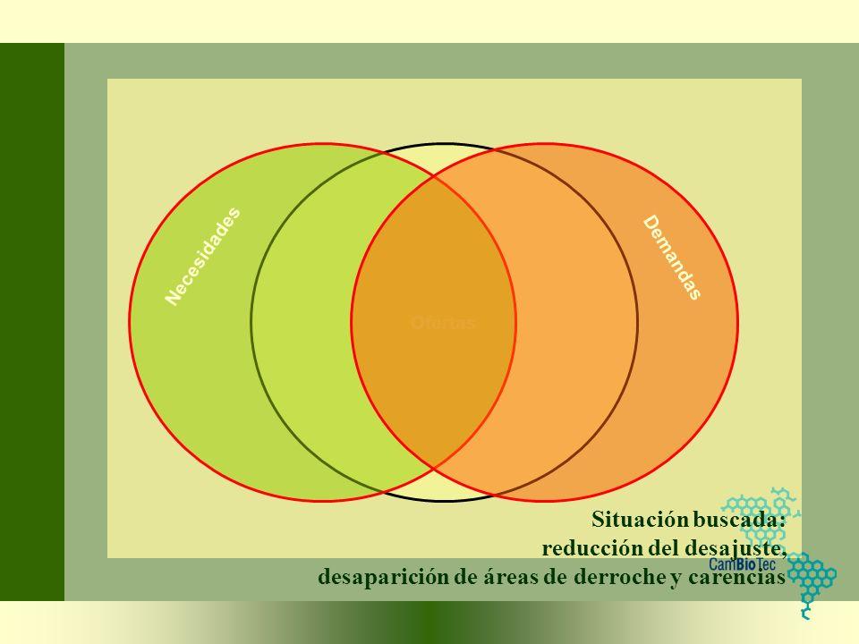 Situación buscada: reducción del desajuste, desaparición de áreas de derroche y carencias