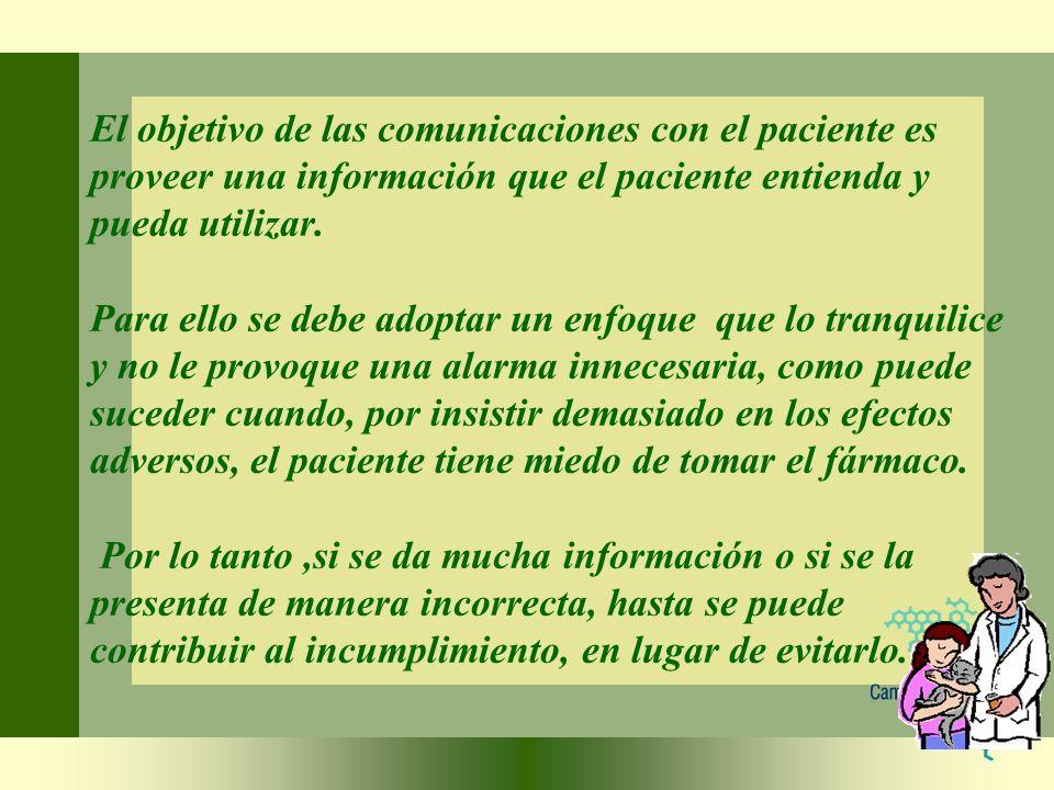 El objetivo de las comunicaciones con el paciente es proveer una información que el paciente entienda y pueda utilizar.