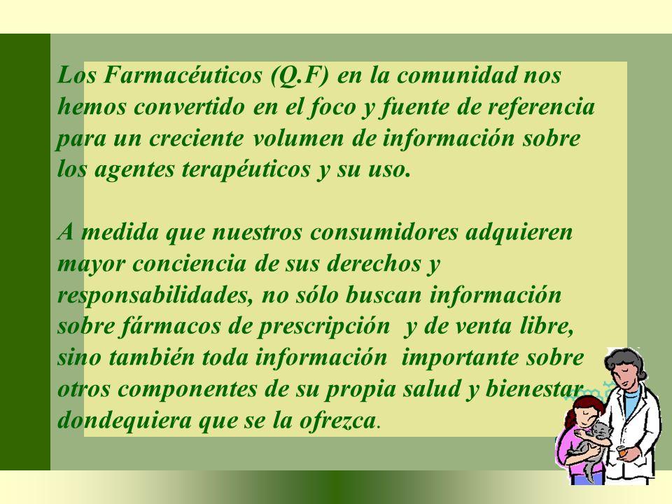Los Farmacéuticos (Q.F) en la comunidad nos hemos convertido en el foco y fuente de referencia para un creciente volumen de información sobre los agentes terapéuticos y su uso.