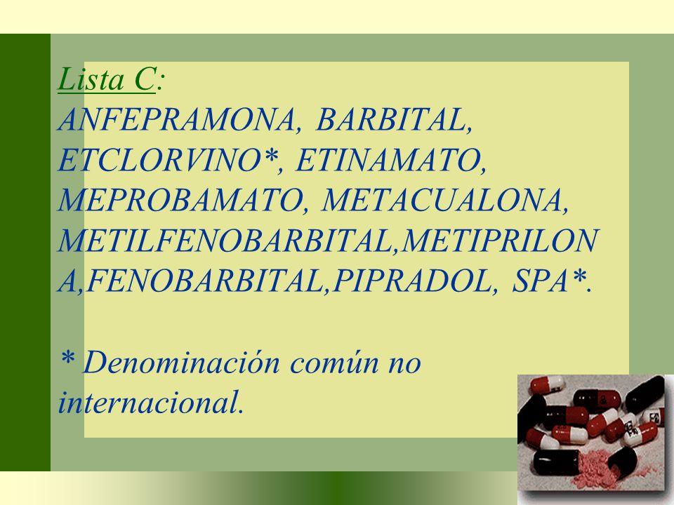 Lista C: ANFEPRAMONA, BARBITAL, ETCLORVINO