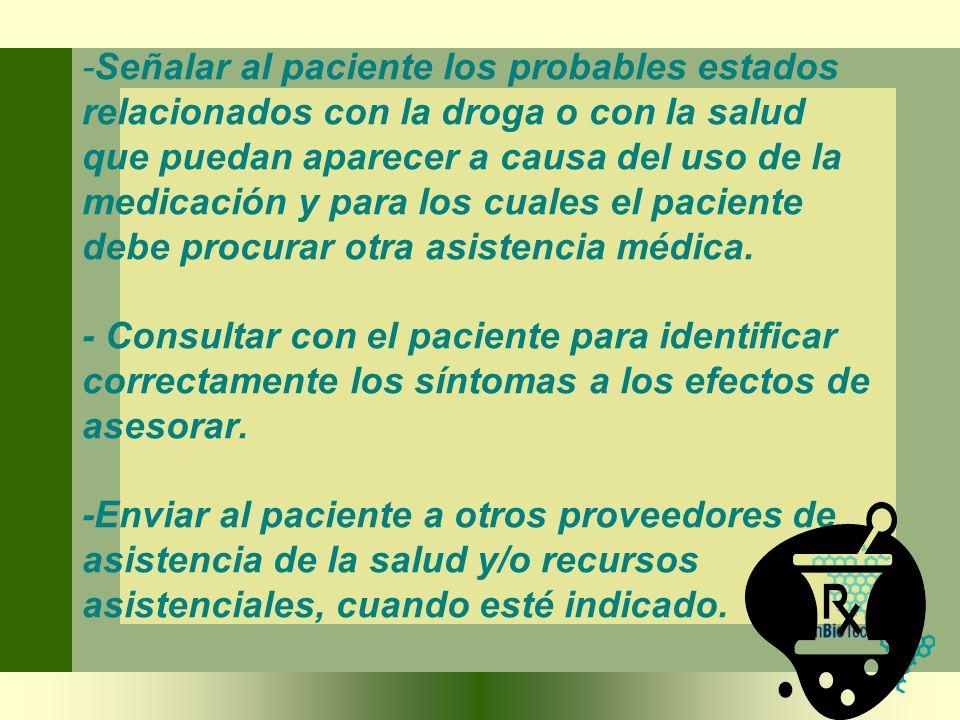 -Señalar al paciente los probables estados relacionados con la droga o con la salud que puedan aparecer a causa del uso de la medicación y para los cuales el paciente debe procurar otra asistencia médica.