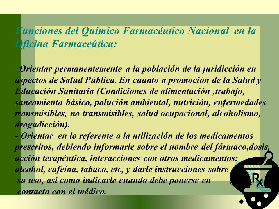 Funciones del Químico Farmacéutico Nacional en la Oficina Farmaceútica: - Orientar permanentemente a la población de la juridicción en aspectos de Salud Pública.