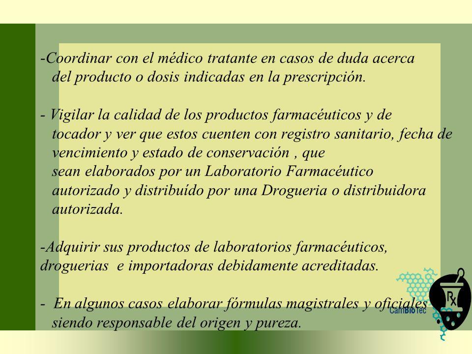 Coordinar con el médico tratante en casos de duda acerca del producto o dosis indicadas en la prescripción.