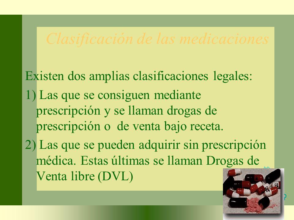 Clasificación de las medicaciones
