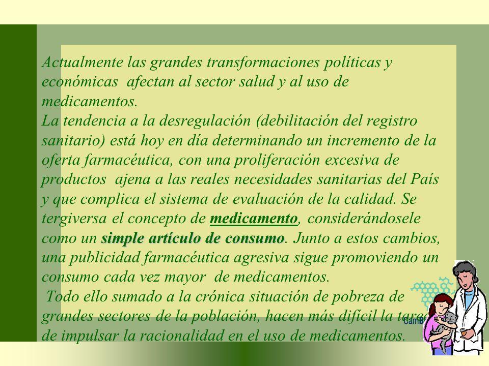 Actualmente las grandes transformaciones políticas y económicas afectan al sector salud y al uso de medicamentos.