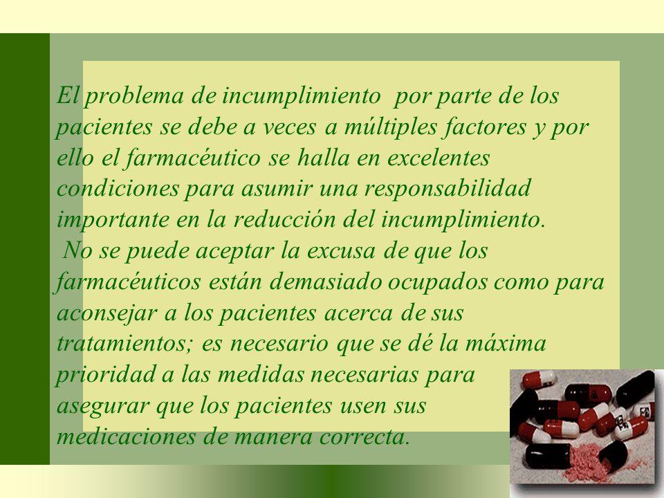 El problema de incumplimiento por parte de los pacientes se debe a veces a múltiples factores y por ello el farmacéutico se halla en excelentes condiciones para asumir una responsabilidad importante en la reducción del incumplimiento.