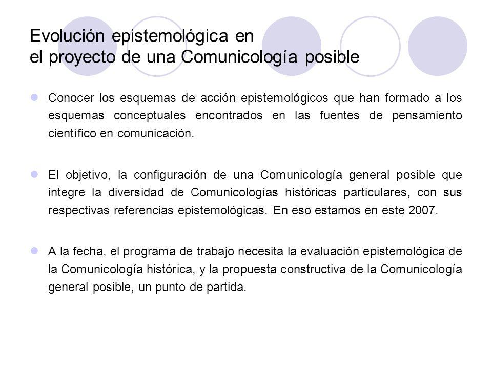 Evolución epistemológica en el proyecto de una Comunicología posible