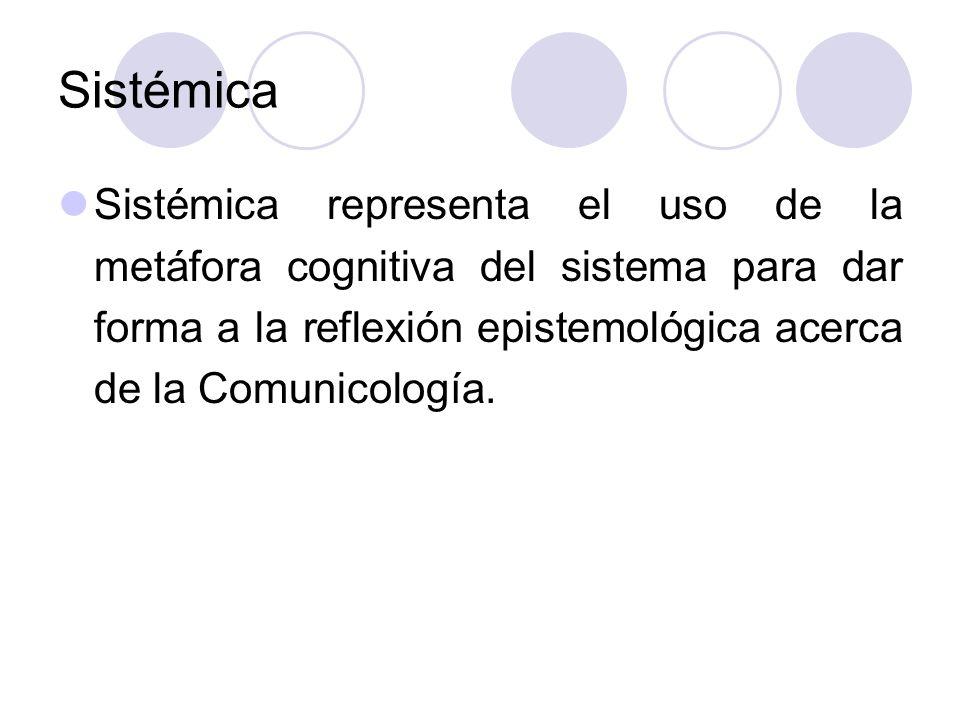 SistémicaSistémica representa el uso de la metáfora cognitiva del sistema para dar forma a la reflexión epistemológica acerca de la Comunicología.