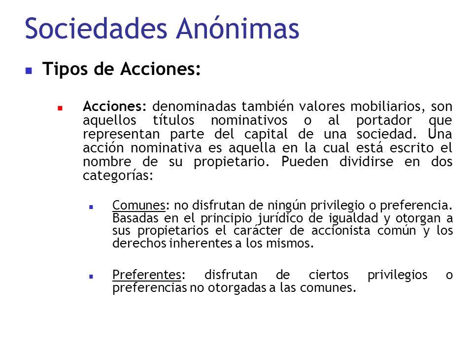 Sociedades Anónimas Tipos de Acciones: