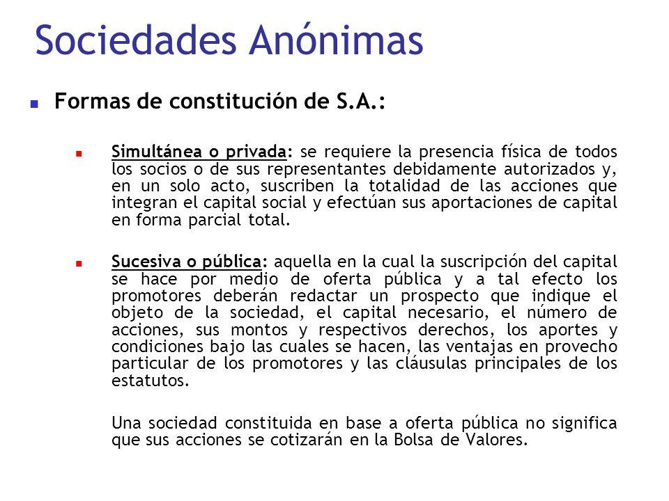 Sociedades Anónimas Formas de constitución de S.A.: