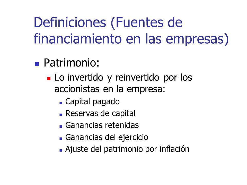 Definiciones (Fuentes de financiamiento en las empresas)