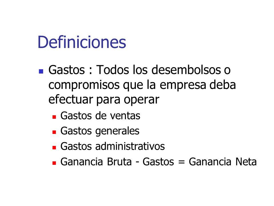 Definiciones Gastos : Todos los desembolsos o compromisos que la empresa deba efectuar para operar.