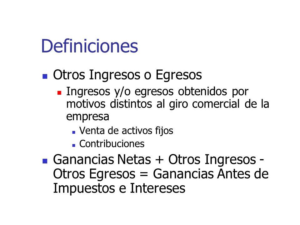 Definiciones Otros Ingresos o Egresos