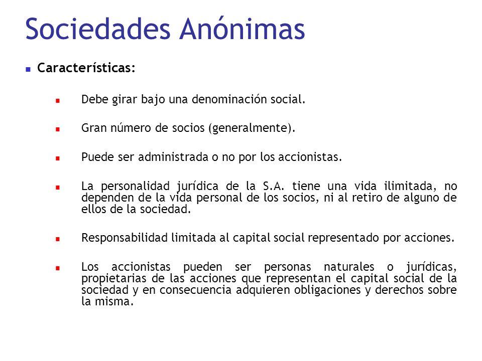 Sociedades Anónimas Características: