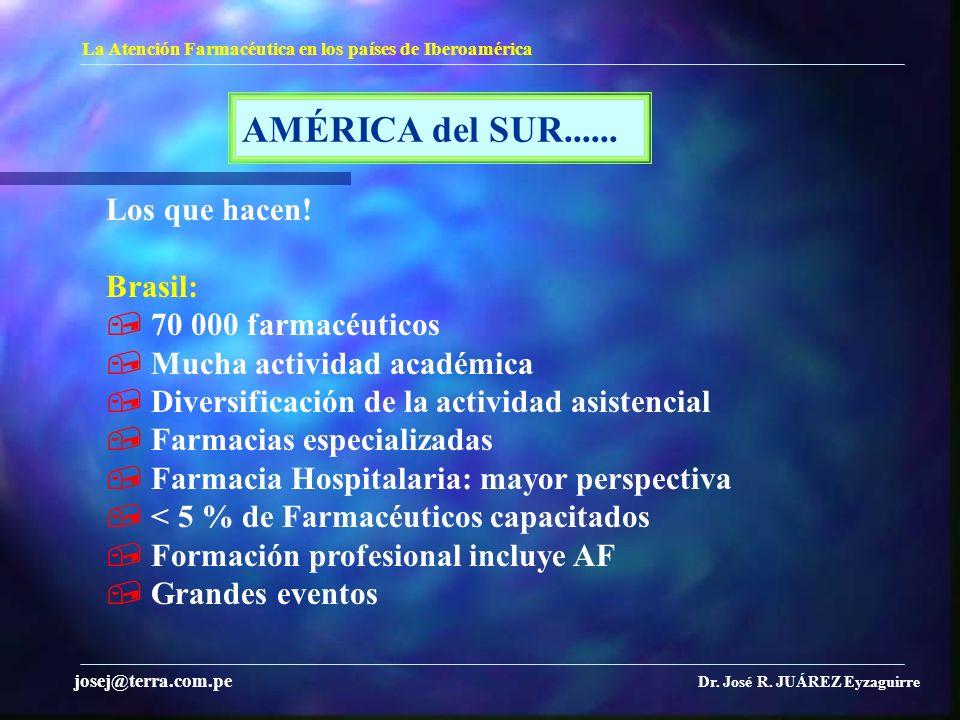 AMÉRICA del SUR...... Los que hacen! Brasil:  70 000 farmacéuticos