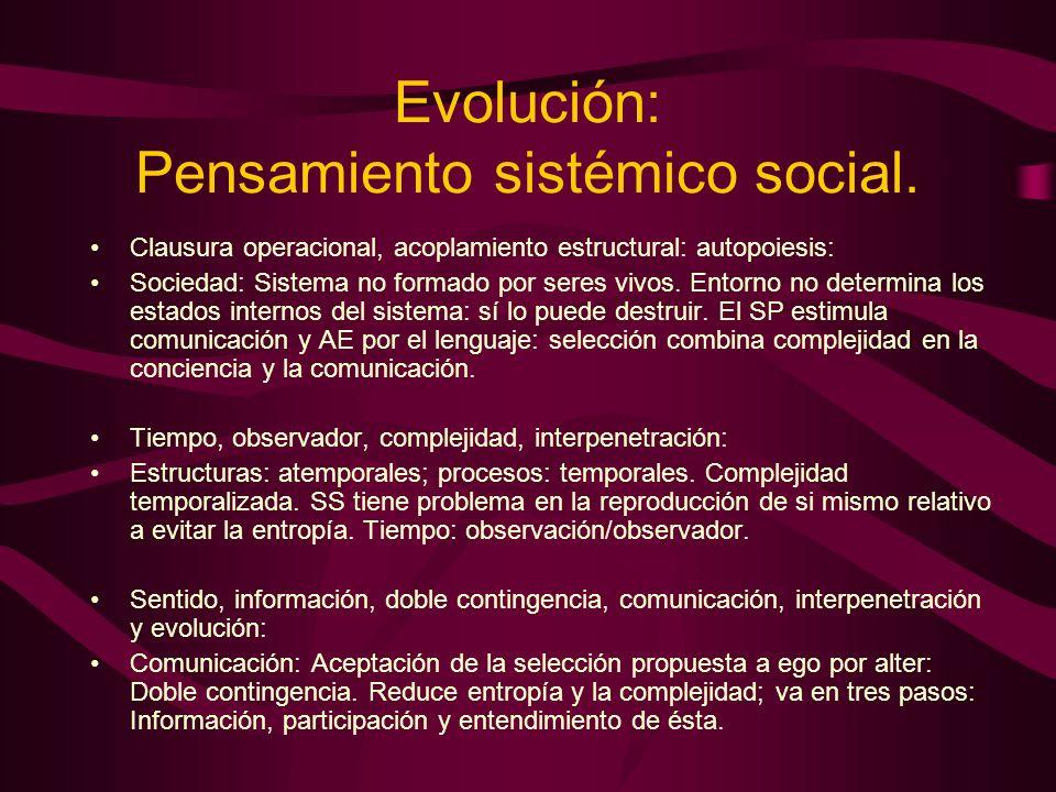 Evolución: Pensamiento sistémico social.