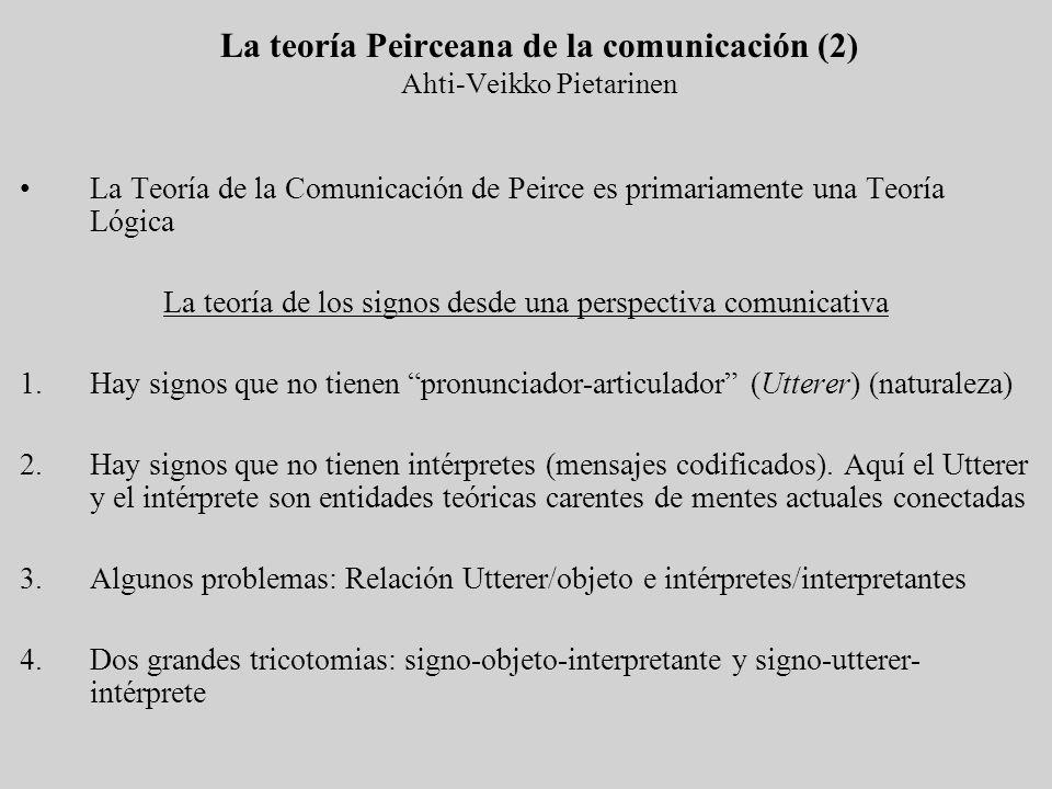 La teoría Peirceana de la comunicación (2) Ahti-Veikko Pietarinen