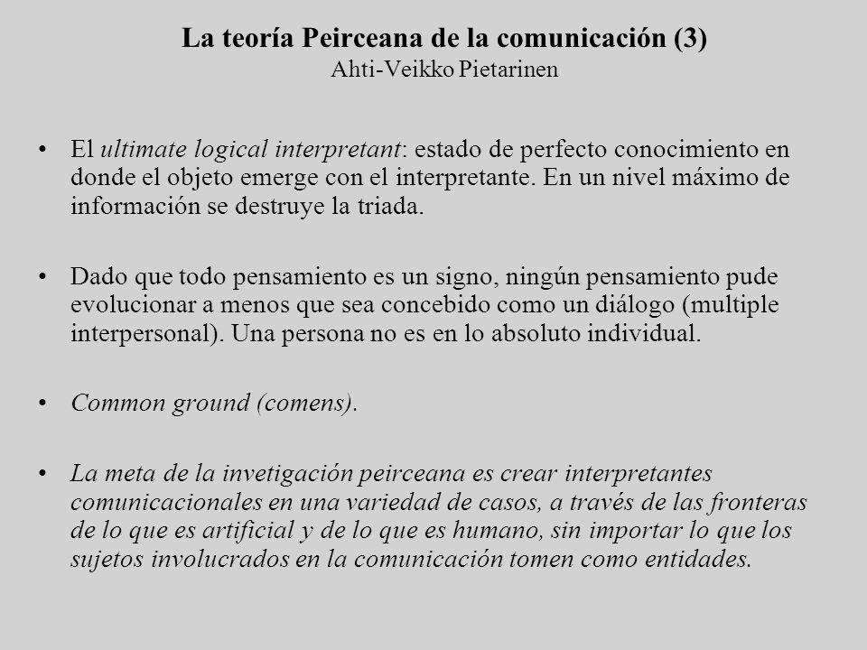 La teoría Peirceana de la comunicación (3) Ahti-Veikko Pietarinen