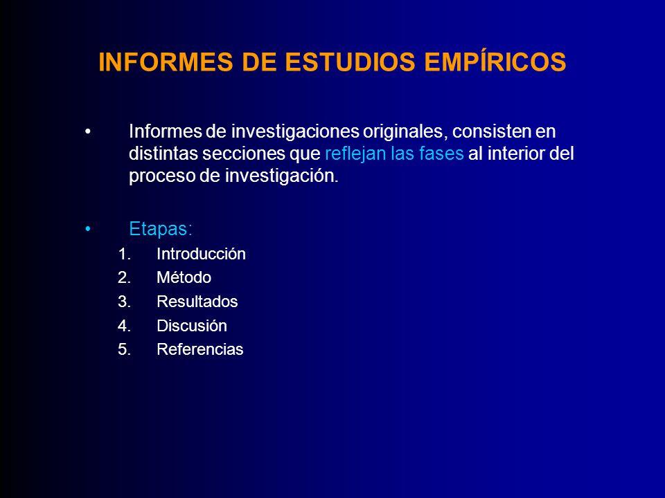 INFORMES DE ESTUDIOS EMPÍRICOS