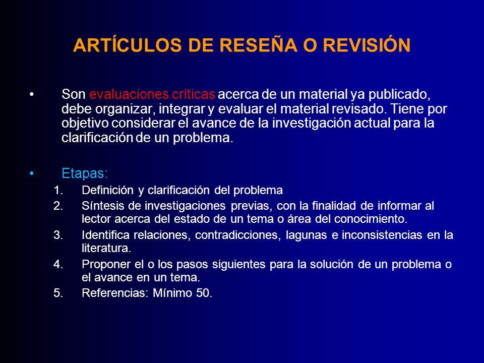 ARTÍCULOS DE RESEÑA O REVISIÓN