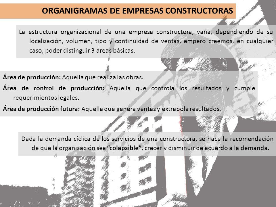 Costos de construcci n clase ppt descargar for Organigrama de una empresa constructora