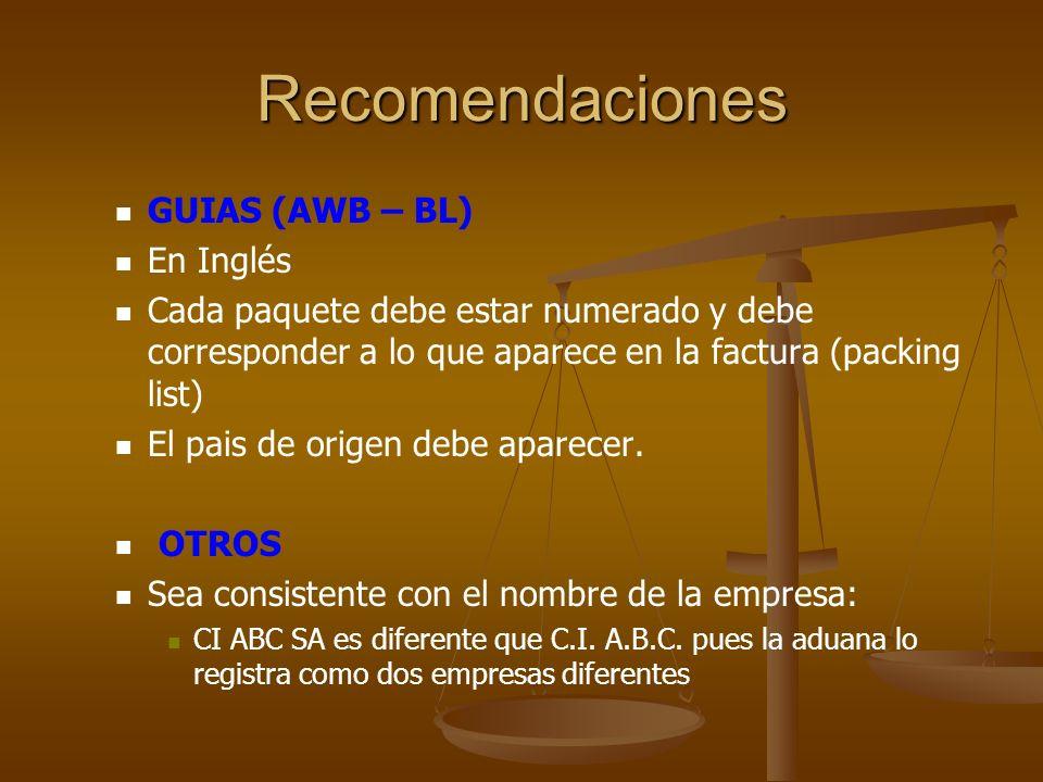 Recomendaciones GUIAS (AWB – BL) En Inglés