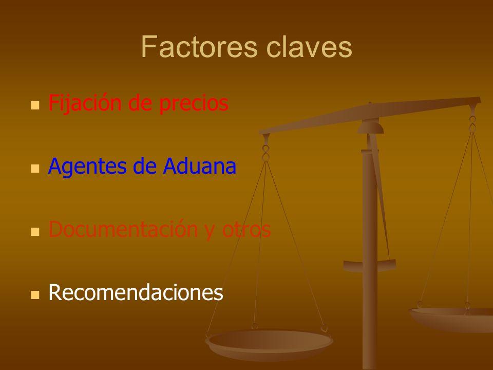 Factores claves Fijación de precios Agentes de Aduana