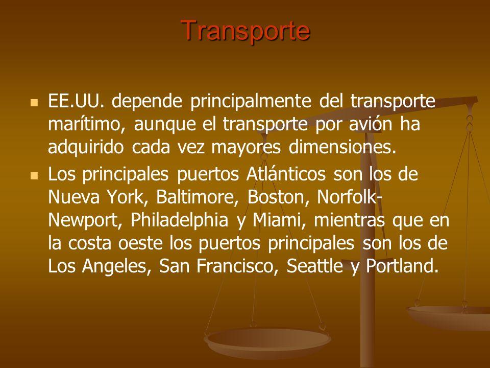 TransporteEE.UU. depende principalmente del transporte marítimo, aunque el transporte por avión ha adquirido cada vez mayores dimensiones.